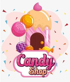 Affiche van snoepwinkel met heerlijk cupcakehuis