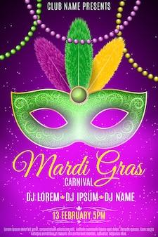 Affiche voor mardi gras carnaval.