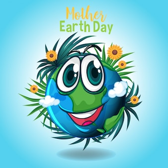 Affiche voor moeder aarde dag met grote glimlach op aarde