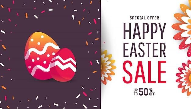 Affiche voor paasei met gekleurde eieren en bloemen Premium Vector
