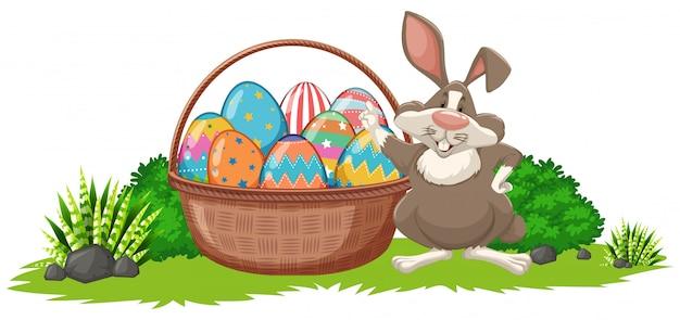Affiche voor pasen met konijn en versierde eieren