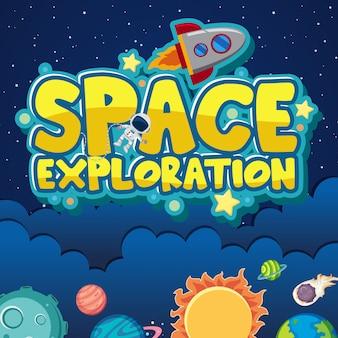 Affiche voor ruimteverkenning met astronaut en ruimteschip op de ruimteachtergrond