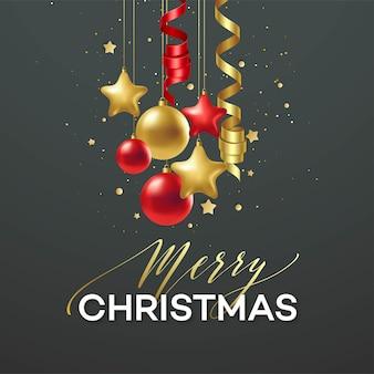 Affiche vrolijk kerstfeest. premium kalligrafie belettering met gouden ornament decoratie van gouden bal op luxe zwarte achtergrond. vector illustratie eps10