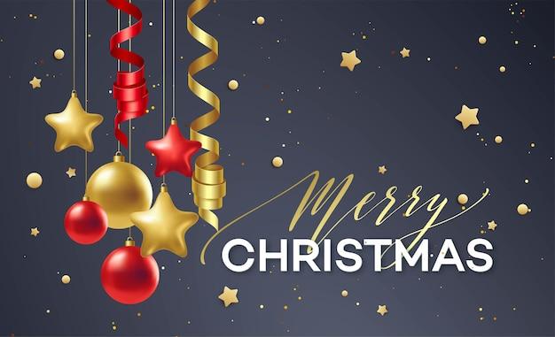 Affiche vrolijk kerstfeest. premium kalligrafie belettering met gouden ornament decoratie van gouden bal op luxe zwarte achtergrond. vectorillustratie eps10