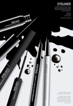 Affichecosmetische eyeliner met de verpakking van vectorillustratie