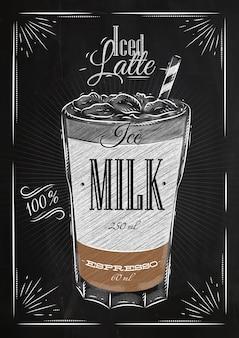 Affichekoffie bevroren latte in uitstekende stijltekening met krijt op het bord