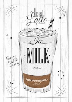 Affichekoffie bevroren latte in uitstekende stijltekening op houten achtergrond
