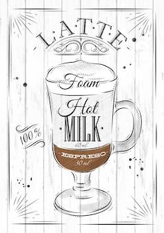 Affichekoffie latte in uitstekende stijltekening op houten achtergrond