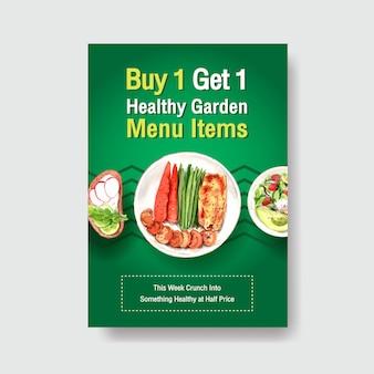 Affichemalplaatje met gezond en biologisch voedselontwerp