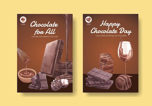Affichemalplaatje met het concept van de wereldchocoladedag