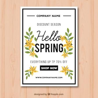 Affichemalplaatje voor de lenteverkoop met bloemen en gele bladeren