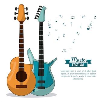 Affiches muziekfestival met akoestische gitaar en elektrische gitaar