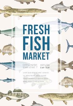 Affichesjabloon met vis, frame en plaats voor tekst. verticale banner met zeedieren, zee- en zoetwatersoorten. kleurrijk realistisch