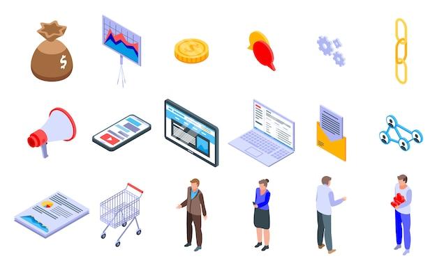 Affiliate marketing iconen set
