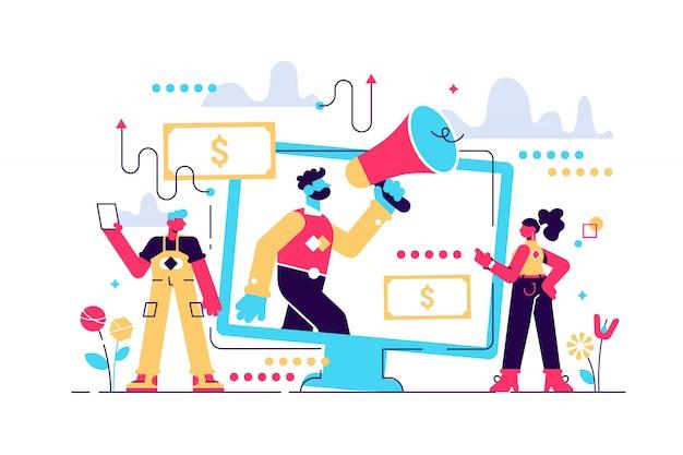 Affiliate marketing illustratie. zakelijke commerciële en advertentiestrategie met behulp van seo, betalen per klik en e-mail. menselijke handdruk en samenwerking.