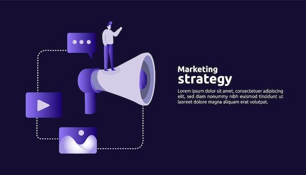 Affiliate online social media marketingstrategieconcept. verwijs een vriend die reclame maakt voor de promotiestrategie voor digitale mobiele inhoud, vectorbannerillustratie.