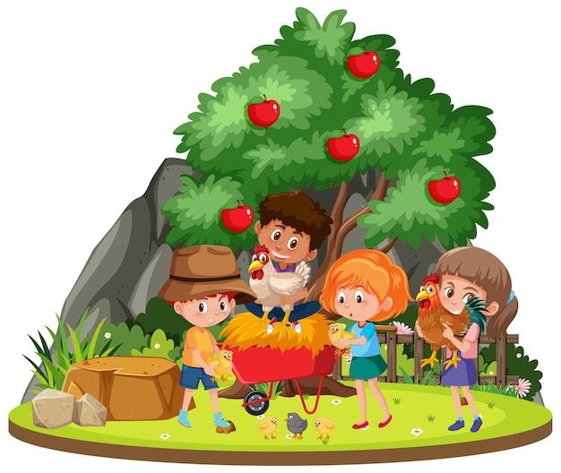 Afgelegen boerderij met kinderen
