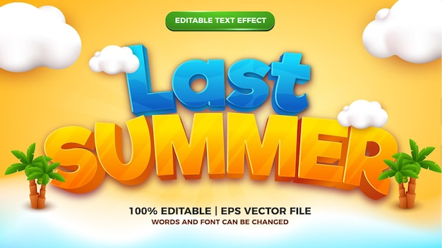 Afgelopen zomer cartoon bewerkbare teksteffect stijlsjabloon 3d