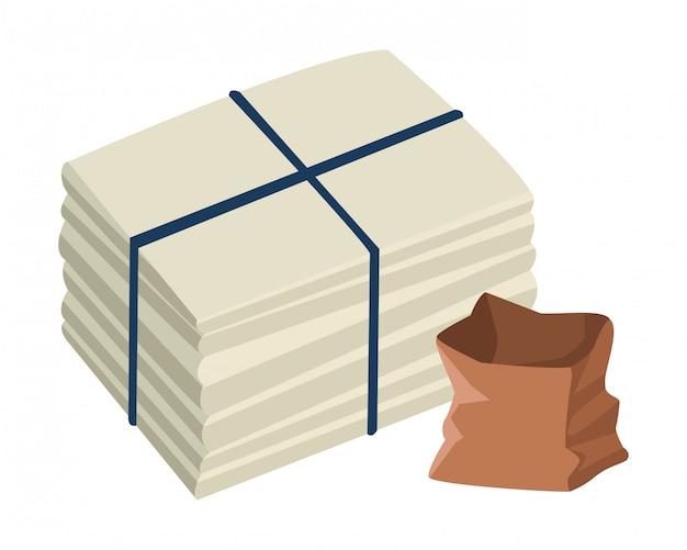 Afgemeerd papier en zak met papier