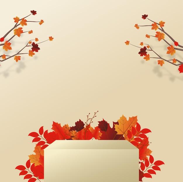 Afgerond podium voor productweergave op herfstconcept