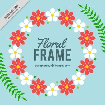 Afgeronde floral frame met bladeren