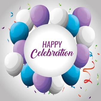 Afgeronde frame met ballonnen en confetti decoratie tot evenement