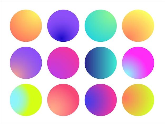 Afgeronde holografische gradiënt bol. multicolor groen paars geel oranje roze cyaan vloeiende cirkel verlopen, kleurrijke zachte ronde knoppen of levendige kleur bollen platte set. vectorillustratie 10 eps.