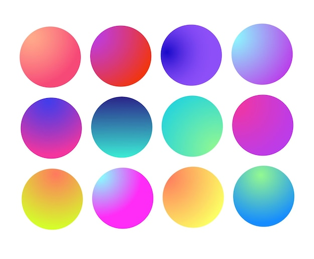 Afgeronde holografische gradiënt bol multicolor groen paars geel oranje roze cyaan vloeistof cirkel gra...