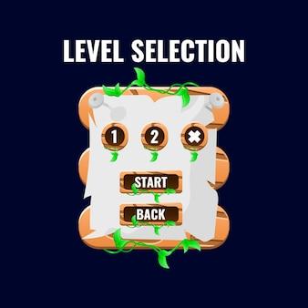 Afgeronde houten natuurspel ui-niveau selectie-interface voor 2d-spellen