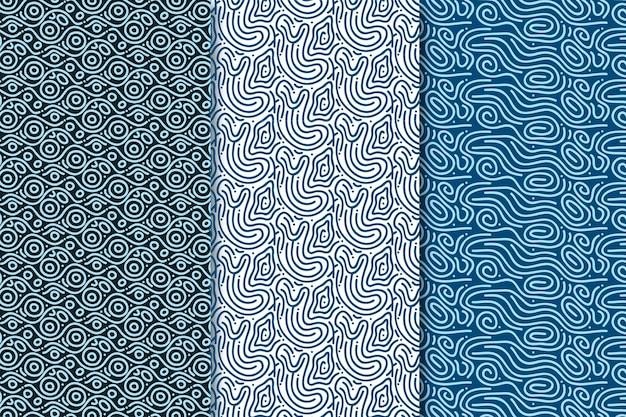 Afgeronde lijnen naadloze patroon blauwe tinten