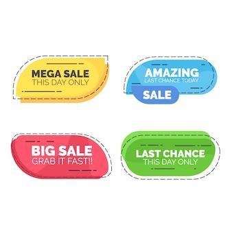 Afgeronde verkoop tekst web element badge