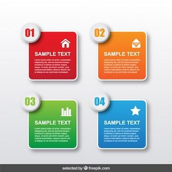 Afgeronde vierkante infographic stappen