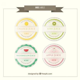 Afgeronde vintage vruchtensappen stickers