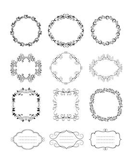 Afgeronde zwarte vector vintage floral decoratieve frames en randen