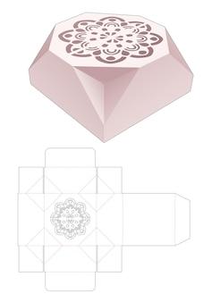 Afgeschuinde achthoekige doos met gestencilde mandala gestanste sjabloon