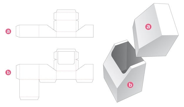 Afgeschuinde briefpapier doos met gestanste sjabloon deksel Premium Vector