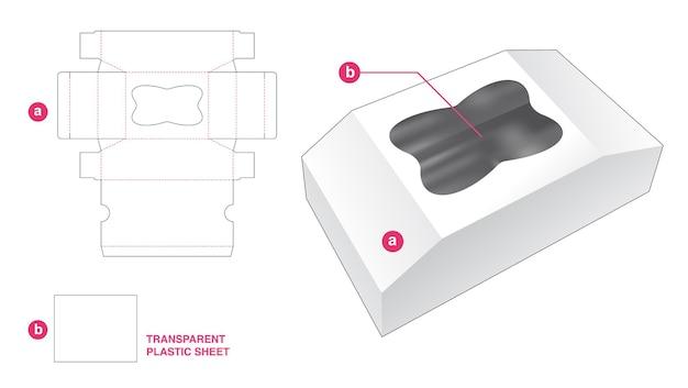 Afgeschuinde doos en dwarsvenster met doorzichtig gestanst sjabloon van plastic vel