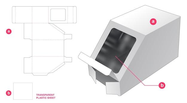 Afgeschuinde doos en venster met gestanste sjabloon van transparant plastic vel