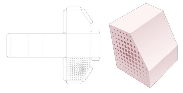 Afgeschuinde doos met gestencilde halftoonstippen gestanst sjabloon