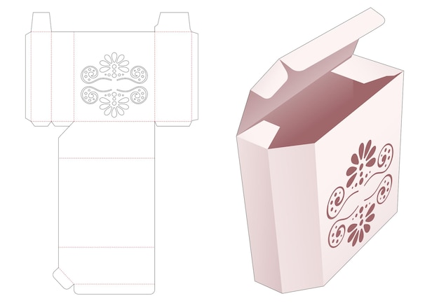 Afgeschuinde doos met gestencilde mandala gestanste sjabloon