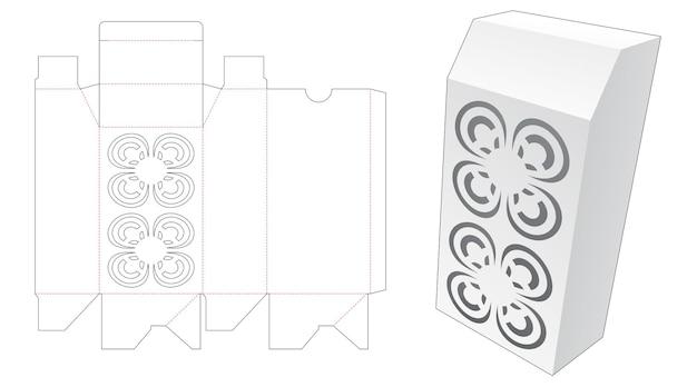 Afgeschuinde doos met gestencilde mandala patroon gestanst sjabloon