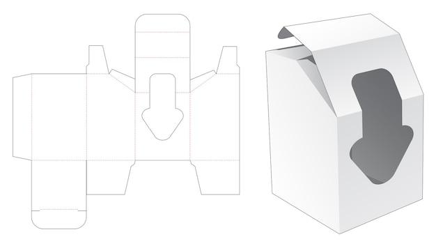 Afgeschuinde doos met pijlvormig venster gestanst sjabloon