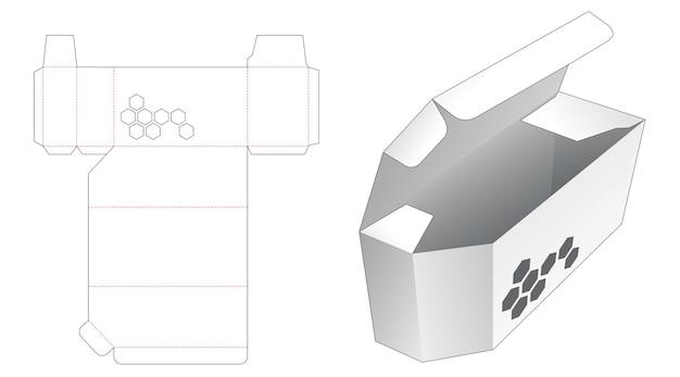 Afgeschuinde doos met zeshoekig gevormd venster gestanst sjabloon