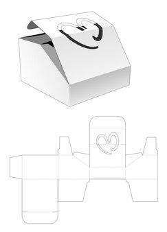 Afgeschuinde korte doos met klep aan de bovenkant en hartvormig venster gestanst sjabloon