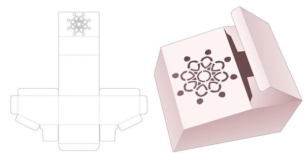 Afgeschuinde verpakking met gestencilde mandala gestanste sjabloon