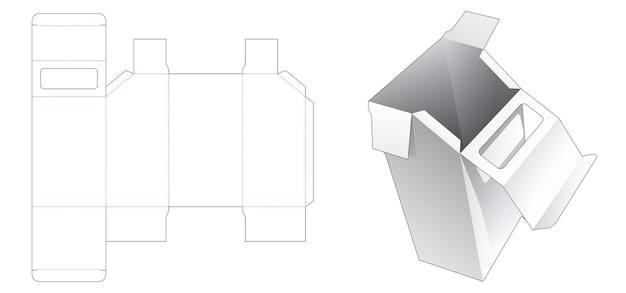 Afgeschuinde verpakkingsdoos met venster bovenop gestanste omslagsjabloon