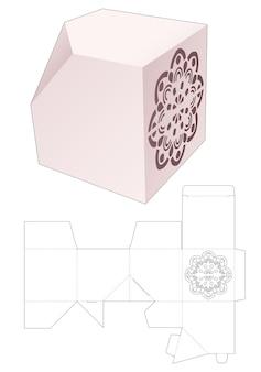 Afgeschuinde vierkante doos met gestencilde mandala gestanste sjabloon