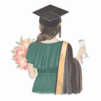 Afgestudeerd meisje met certificaat achteraanzicht hand getrokken illustratie
