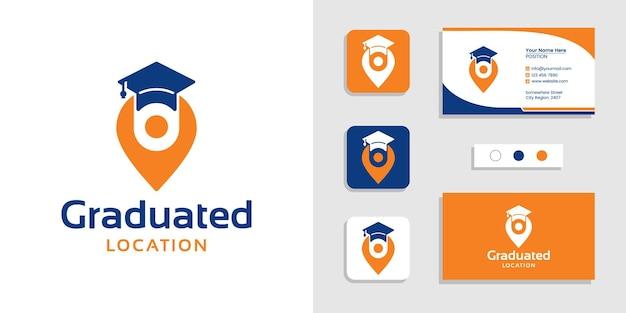 Afgestudeerd onderwijs teken locatie logo en visitekaartje ontwerpsjabloon