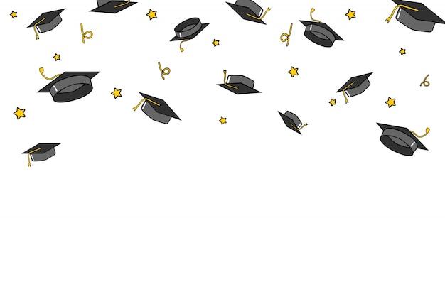 Afgestudeerde caps en confetti achtergrond